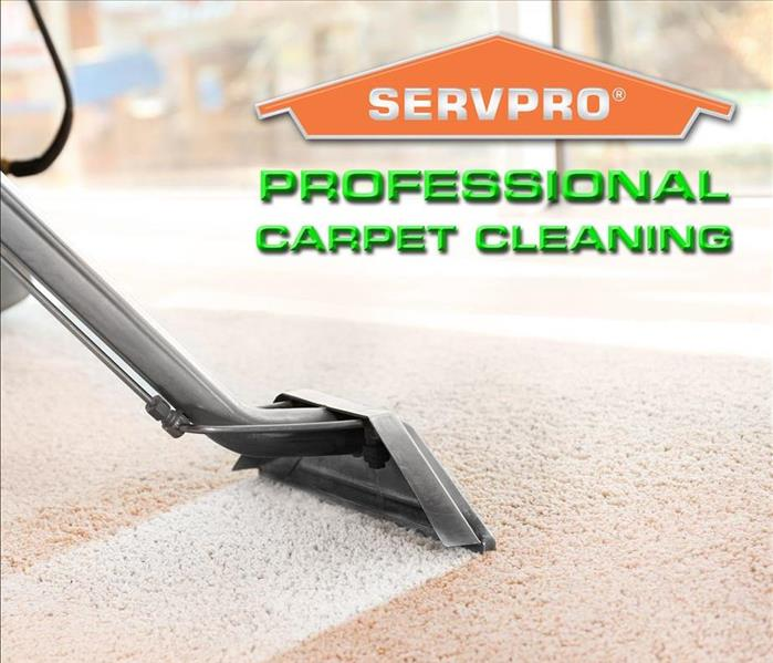 "a steam cleaning carpet wand cleaning carpet with the words ""Professional Carpet Cleaning"" and our SERVPRO Logo"