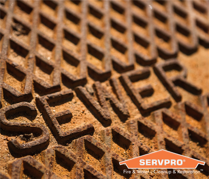Sewer manhole cover with a SERVPRO logo